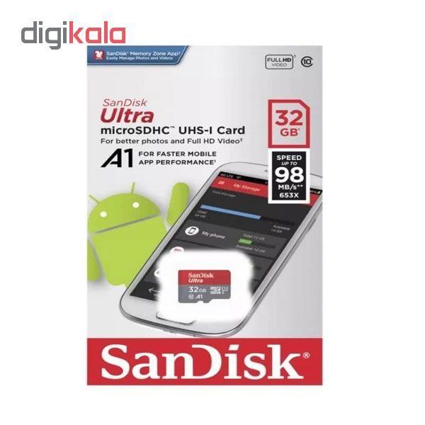 کارت حافظه microSDHC سن دیسک مدل A1 کلاس 10 استاندارد UHS-I سرعت 98MBps ظرفیت 32 گیگابایت main 1 1