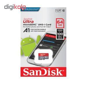 کارت حافظه microSDXC سن دیسک مدل A1 کلاس 10 استاندارد UHS-I سرعت 98MBps ظرفیت 64 گیگابایت