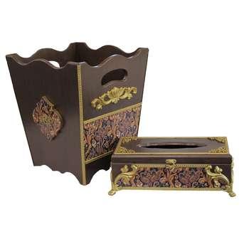 ست سطل زباله و جعبه دستمال کاغذی مدل S04