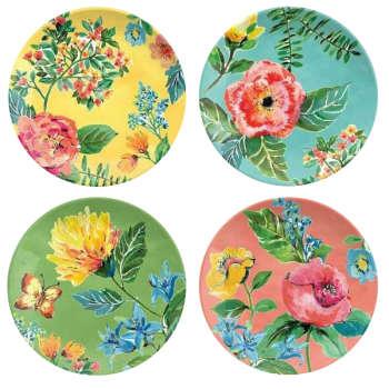 بشقاب سفالی طرح گل ها کد D59-A مجموعه 4 عددی