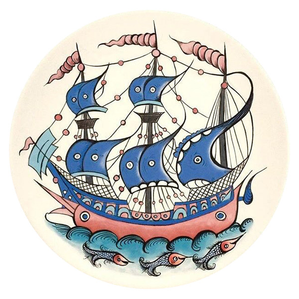 بشقاب سفالی طرح کشتی کد D67-S25