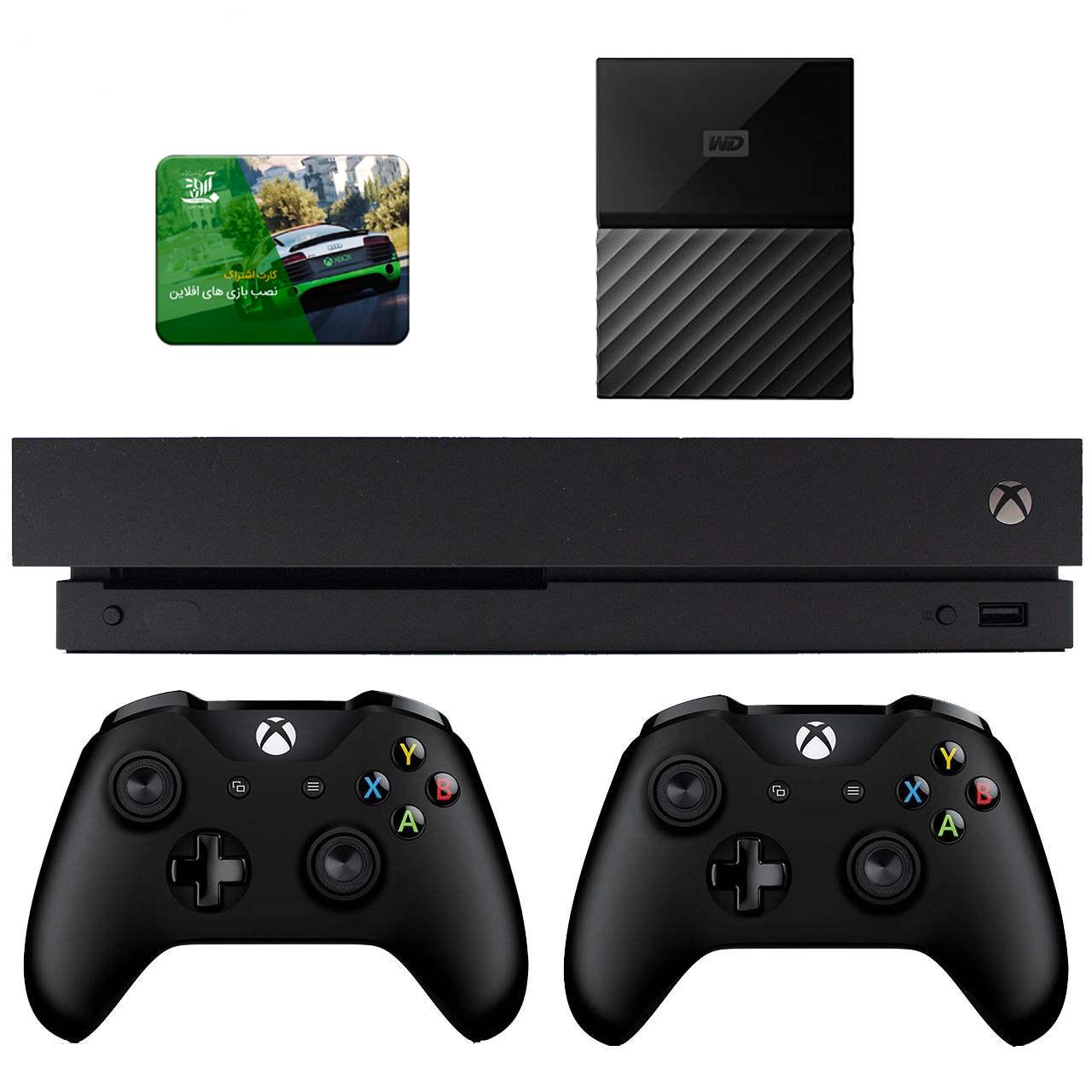 مجموعه کنسول بازی مایکروسافت مدل Xbox One X ظرفیت ۱ ترابایت به همراه ۱۰۰ عدد بازی