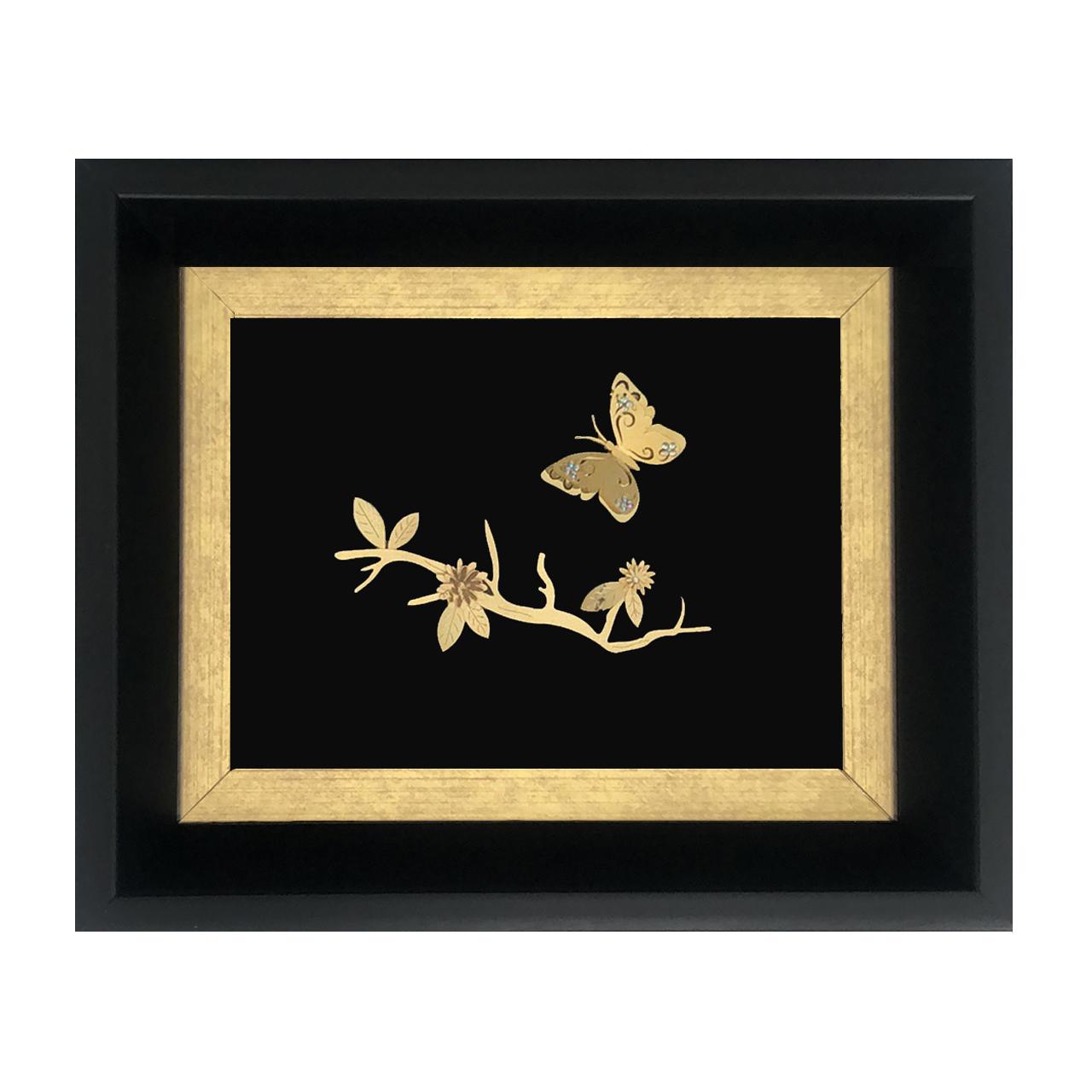 تابلو طلا کوب سام نورزاده طرح پروانه مدل 2156