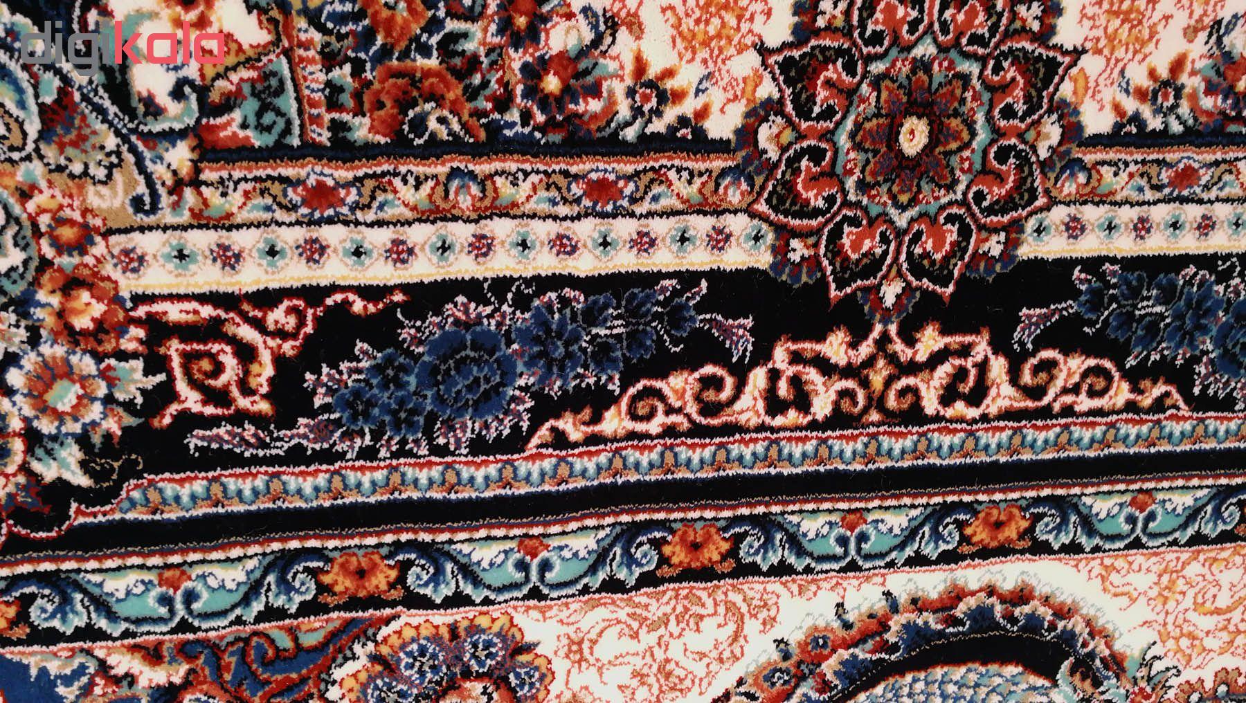 فرش ماشینی زمرد مشهد مدل گلایل زمینه آبی