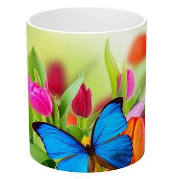 ماگ طرح گل لاله و پروانه مدل NI1083