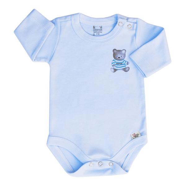 بادی آستین بلند نوزاد آدمک طرح خرس رنگ  آبی