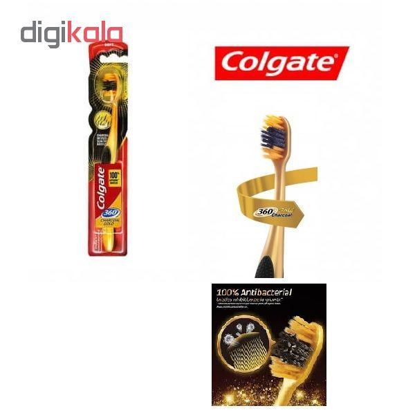 مسواک کلگیت مدل Charcoal Gold 360 با برس نرم main 1 4