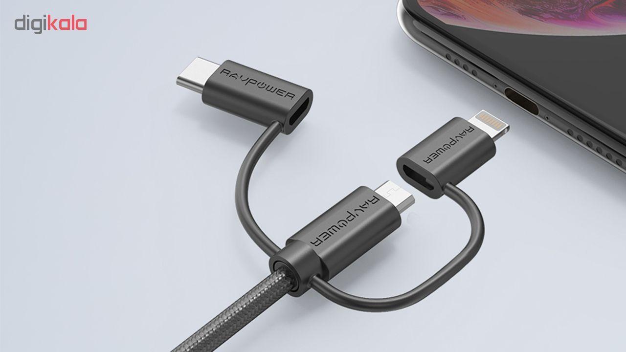 کابل تبدیل USB به لایتنینگ/ USB-C/ microUSB راو پاور مدل RP-CB021 طول 0.9 متر main 1 6