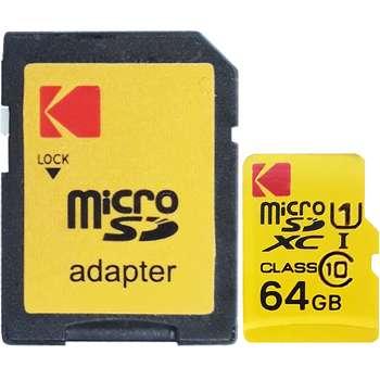 کارت حافظه MicroSDXC کداک مدل Premium Performance کلاس 10 استاندارد UHS-I U1 سرعت 85MBps ظرفیت 64 گیگا بایت به همراه آداپتور  SD