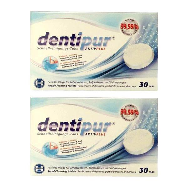 قرص تمیز کننده دندان مصنوعی دنتی پور مدل Active plus مجموعه 2 عددی