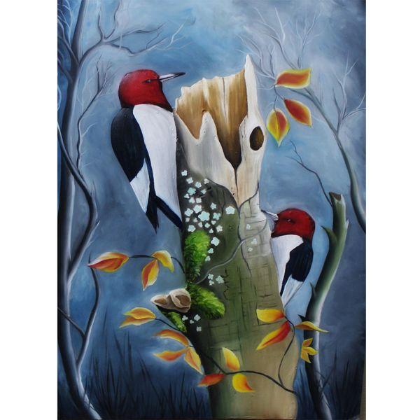 تابلو نقاشی رنگ روغن طرح پرنده