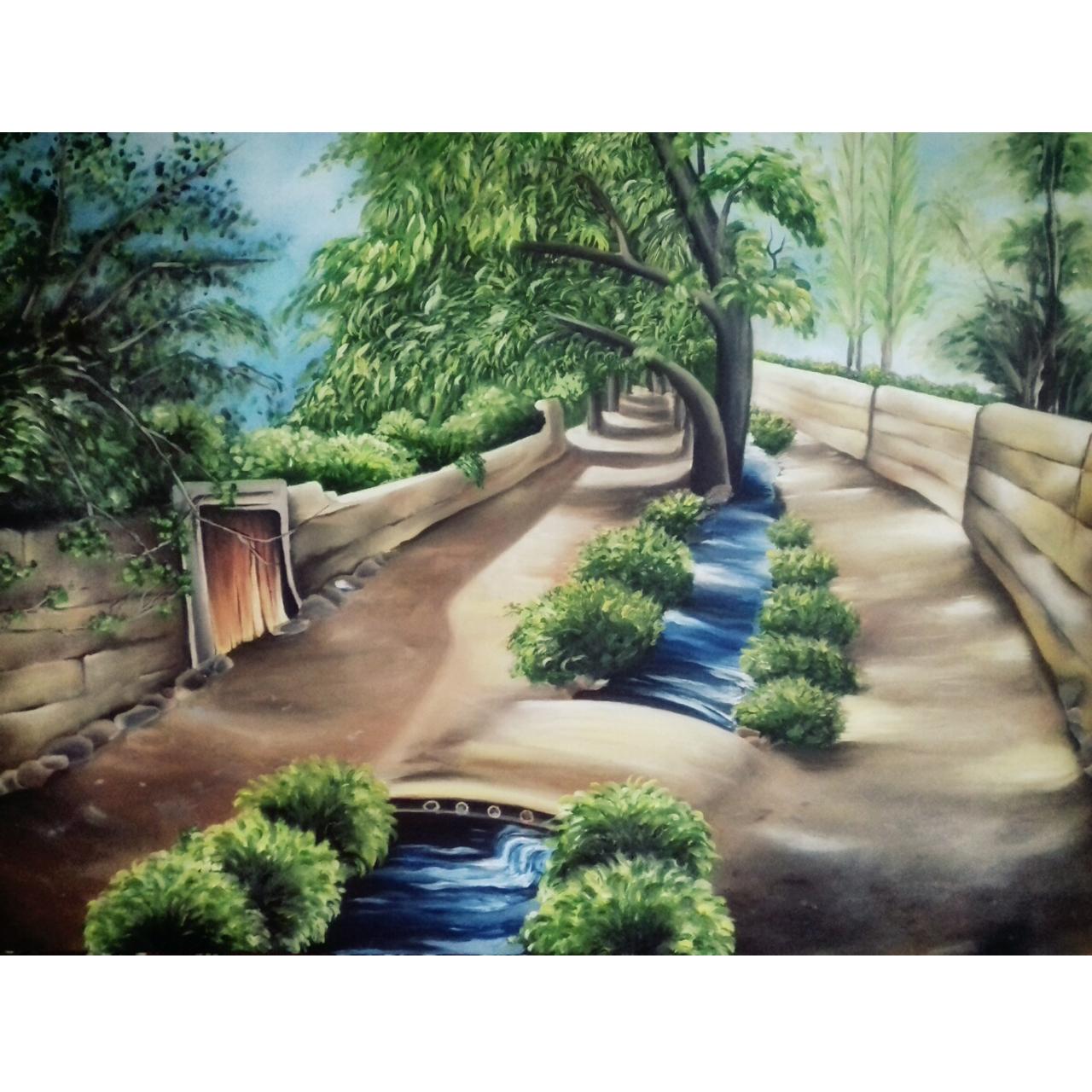 تابلو نقاشی رنگ روغن طرح کوچه باغ