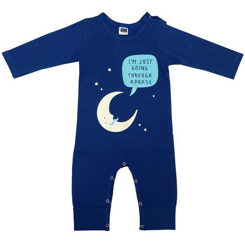 سرهمی نوزادی پسرانه مدل ماه شب رنگ آبی