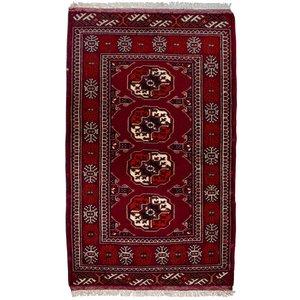 فرش دستبافت قدیمی یک متری طرح ترکمن کد 7138