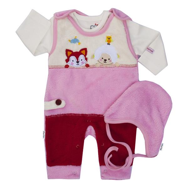 ست 3 تکه لباس نوزادی آدمک طرح بره رنگ صورتی