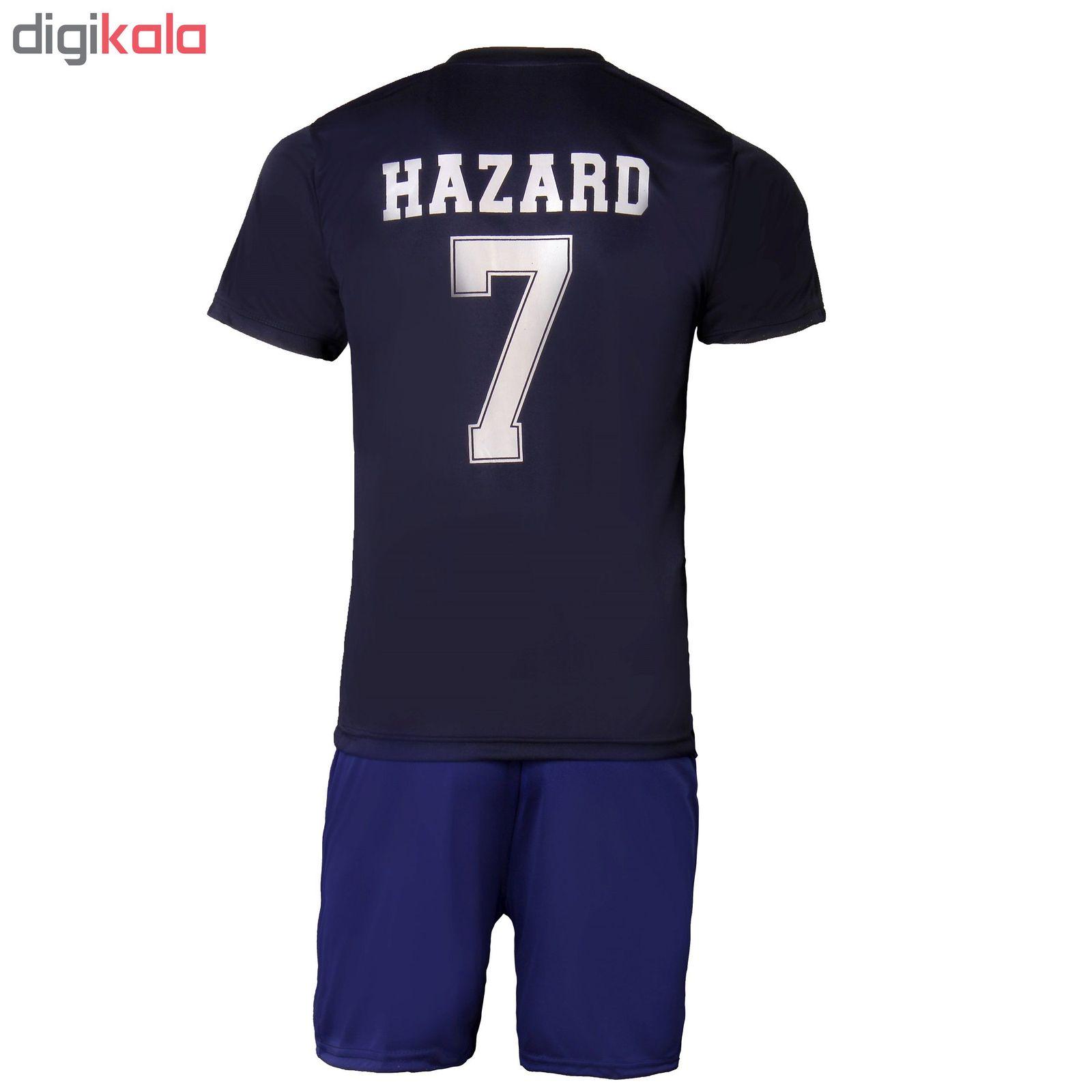 ست پیراهن و شورت ورزشی مردانه طرح رئال مادرید مدل HAZARD کد IR رنگ سرمه ای main 1 2