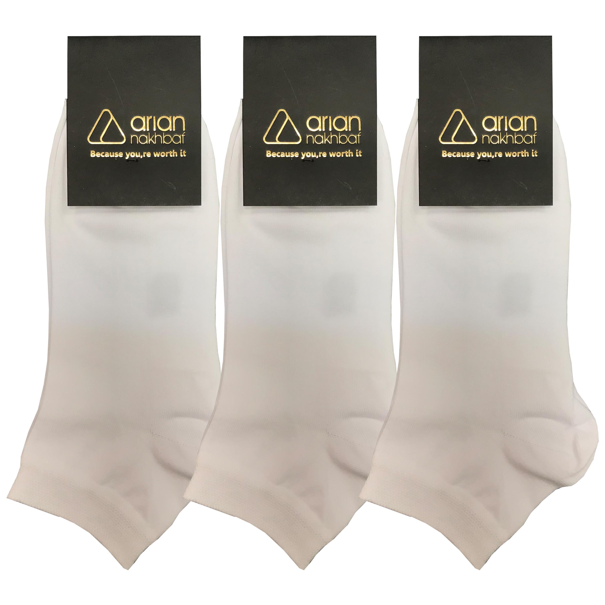 جوراب مردانه آریان نخ باف کد 62211 بسته 3 عددی