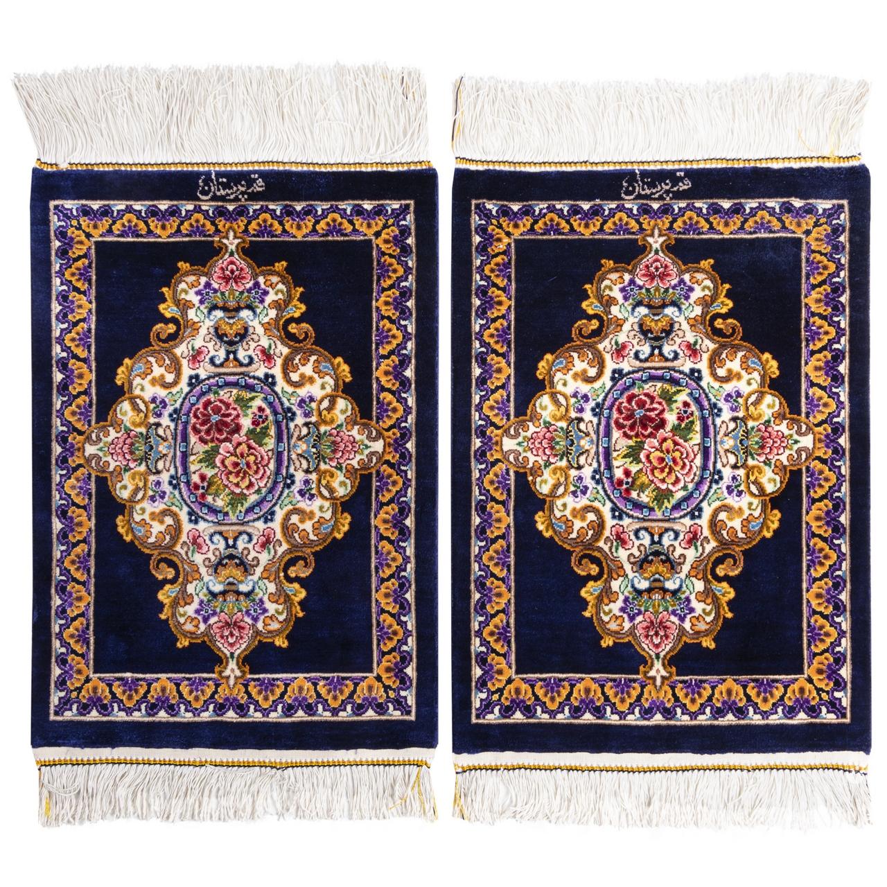 فرش دستباف رومیزی یک دهم متری سی پرشیا کد 703001 یک جفت