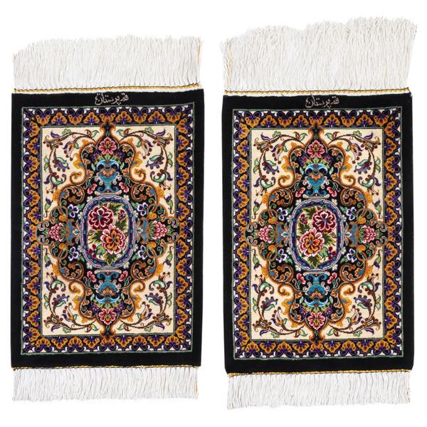 فرش دستباف رومیزی یک دهم متری سی پرشیا کد 703002 یک جفت