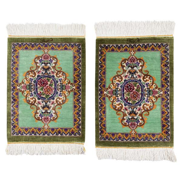 فرش دستباف رومیزی یک دهم متری سی پرشیا کد 703009 یک جفت