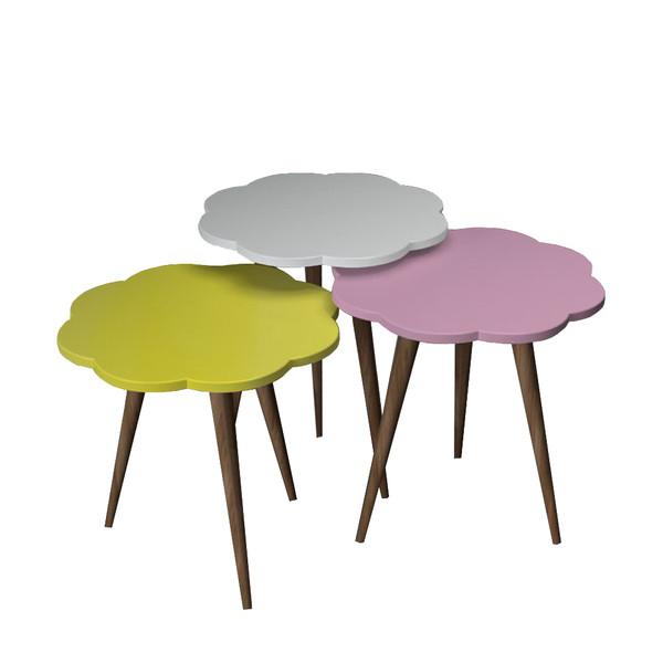میز عسلی مدل گل کد 13 مجموعه 3 عددی