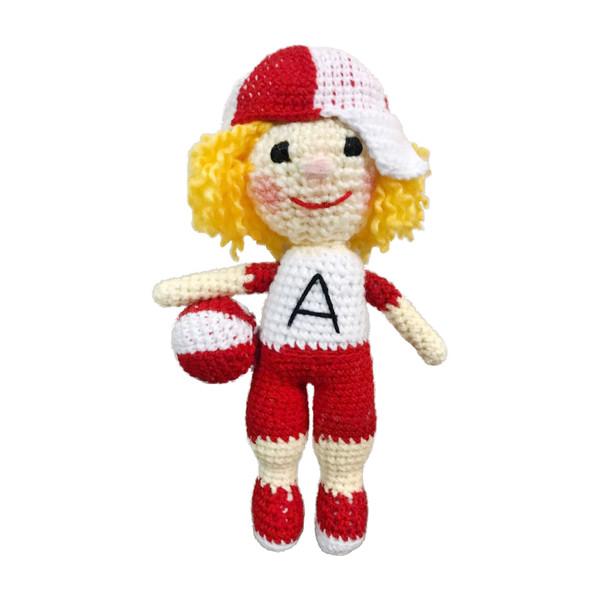 عروسک بافتنی طرح پسر فوتبالیست کد 113