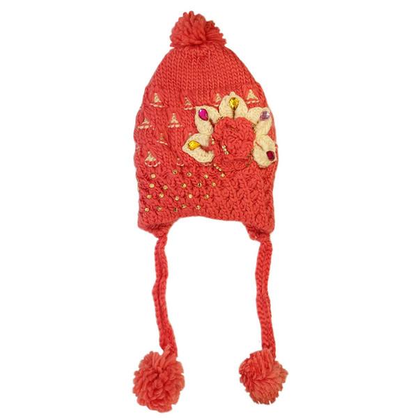 کلاه بافتنی دخترانه کد FLOWER_PEDS66