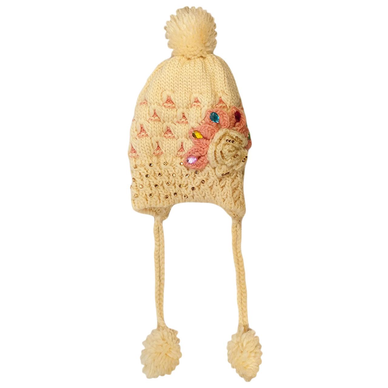 کلاه بافتنی دخترانه کد FLOWER_PIDS89