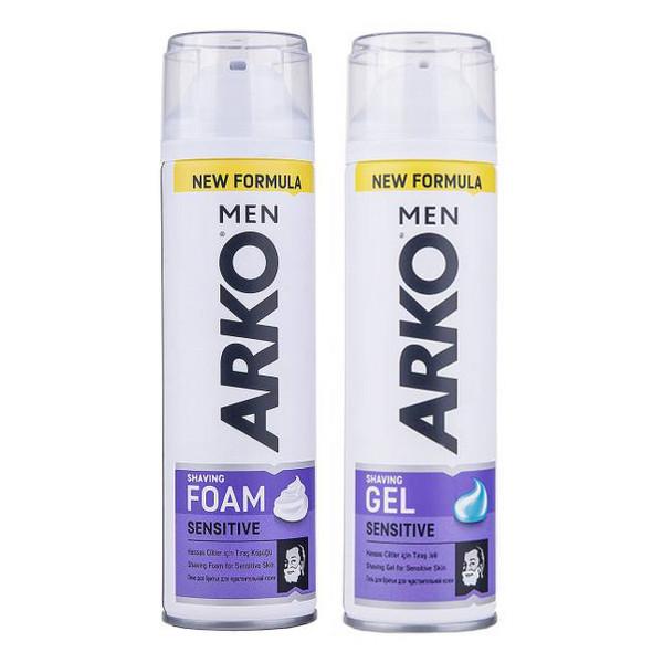 فوم اصلاح آرکو مدل Sensitive حجم 200 میلی لیتر به همراه ژل اصلاح آرکو مدل Sensitive