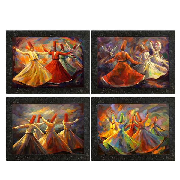 تابلو طرح آثار عماد ریزک مجموعه 4 عددی