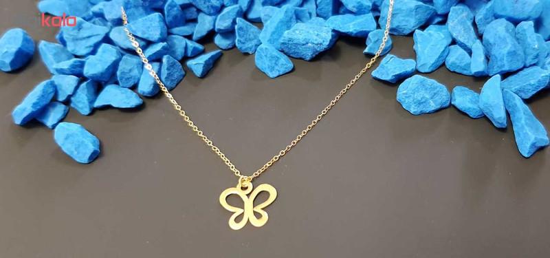 گردنبند طلا 18 عیار زنانه کانیار گالری طرح پروانه کد GA61