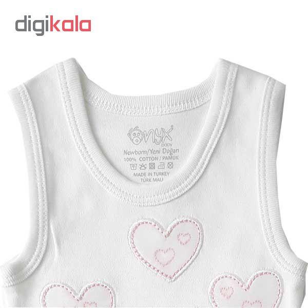 بادی نوزادی دخترانه اونیکس طرح قلب و خرس کد 01