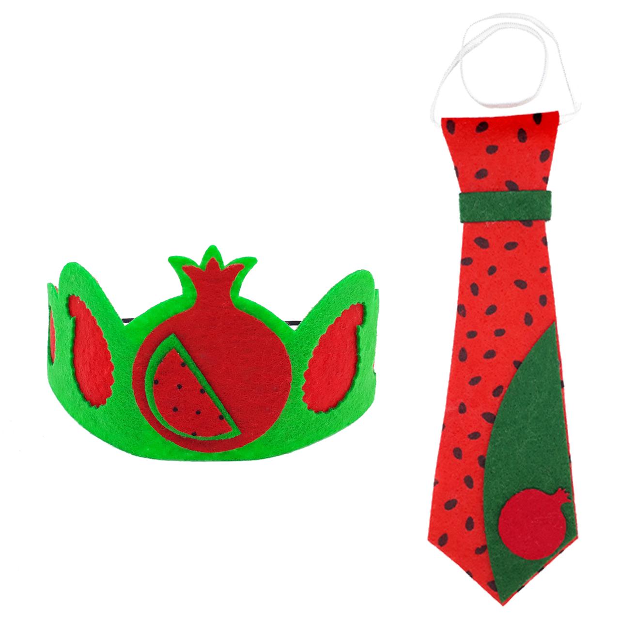 عکس کراوات تزیینی طرح هندوانه یلدا مدل mk392 به همراه تل مو