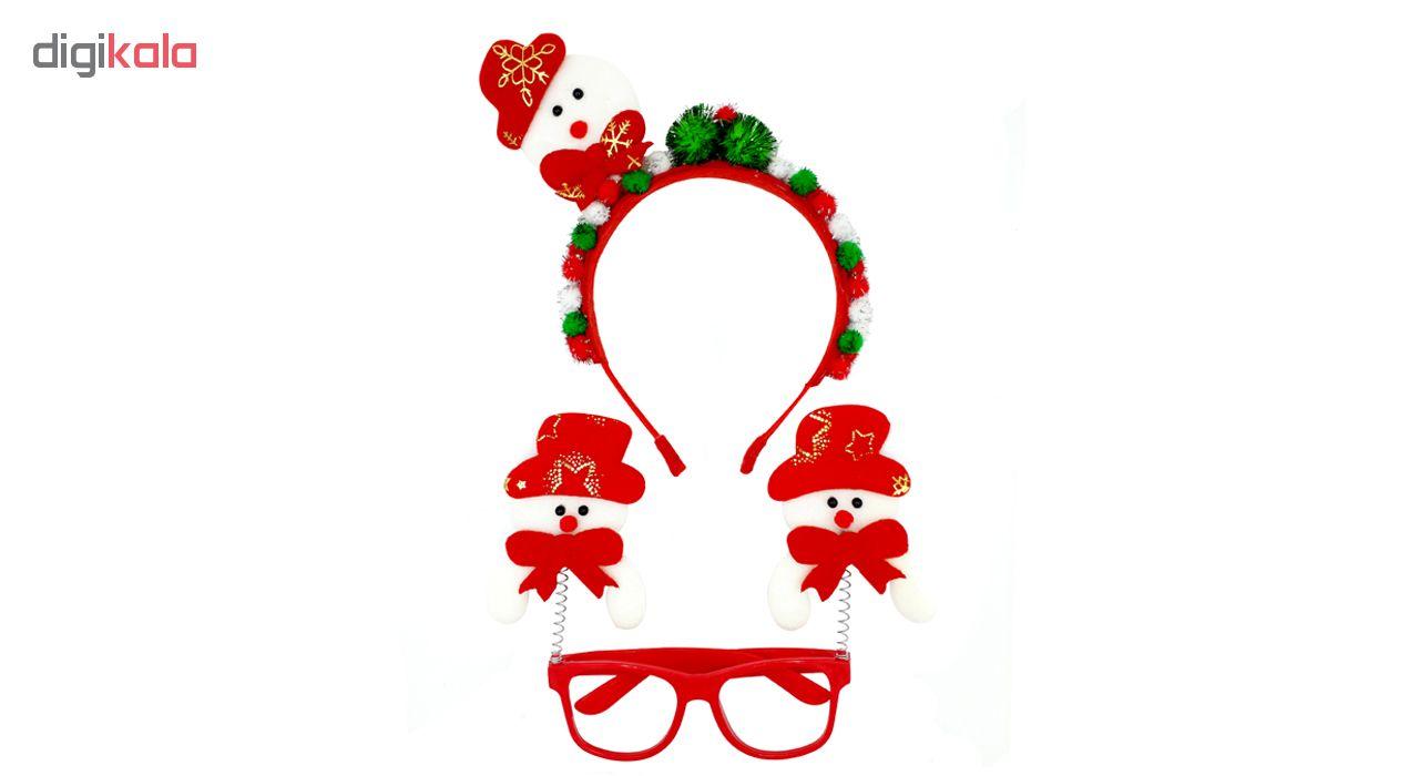 عینک تزیینی مدل بابانویل کد mk393 به همراه تل مو