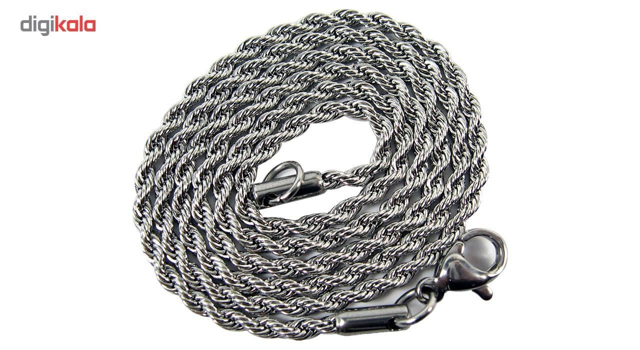 گردنبند استیل مانچو طرح طنابی مدل nm622 -  - 5