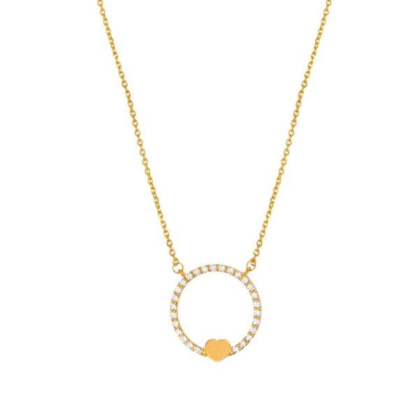 گردنبند طلا 18 عیار زنانه طرح قلب و حلقه کد ACN367