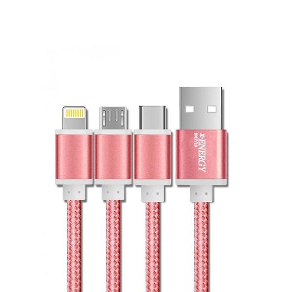 کابل تبدیل USB به microUSB / لایتینگ /USB-C ایکس-انرژی مدل X-303  طول 1 متر