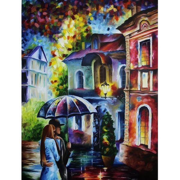 تابلو نقاشی رنگ روغن طرح کوچه بارانی