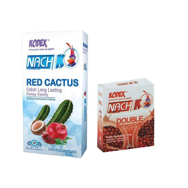خرید                      کاندوم ناچ کدکس مدل red cactus بسته 12 عددی به همراه کاندوم مدل double pomegranate بسته 3 عددی