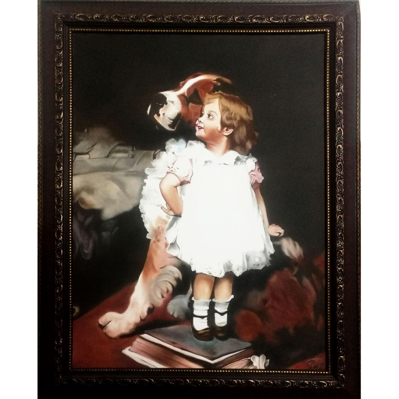 تابلو نقاشی طرح کودک و سگ