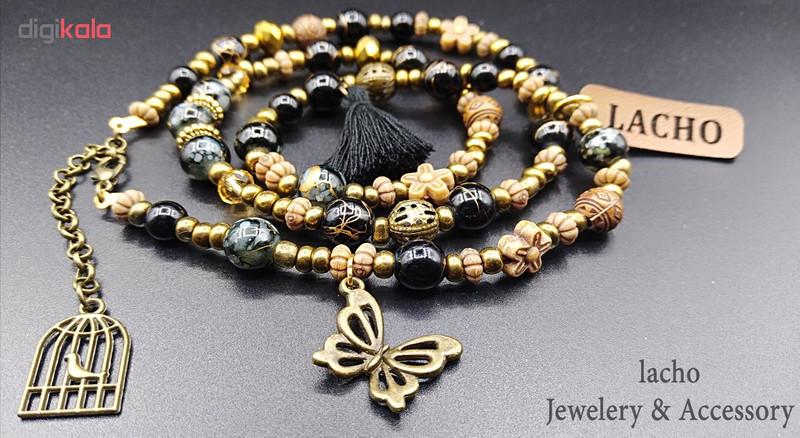 دستبند زنانه لاچو طرح پروانه و قفس کد PO-B