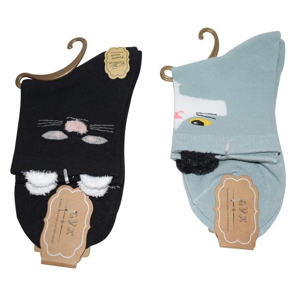 جوراب دخترانه ال وای ایکس مدل Cat 3 مجموعه 2 عددی