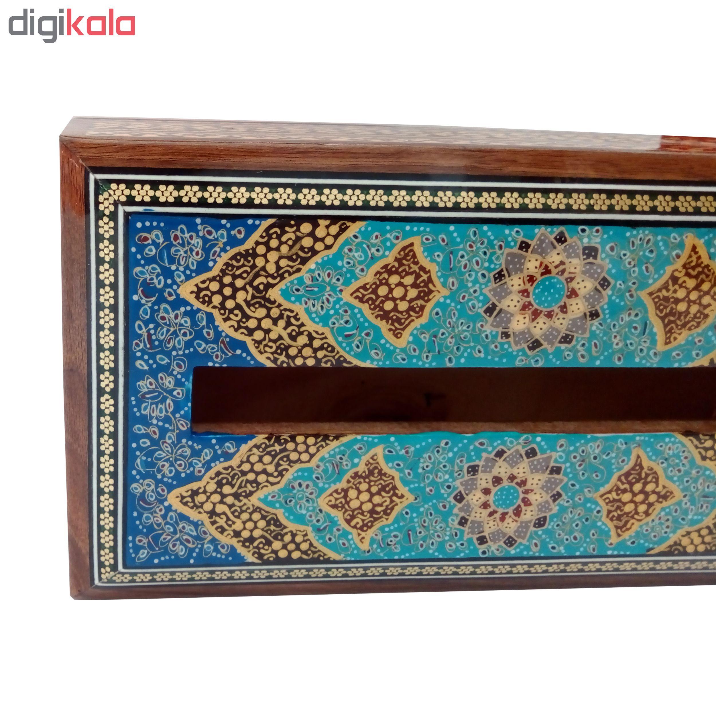 خرید                      جعبه دستمال کاغذی خاتم کاری طرح تذهیب کد 1140