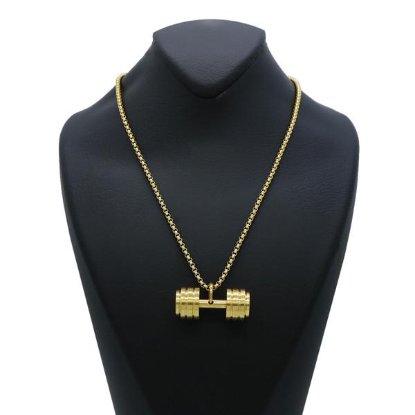 گردنبند مردانه طرح دمبل کد Dm015