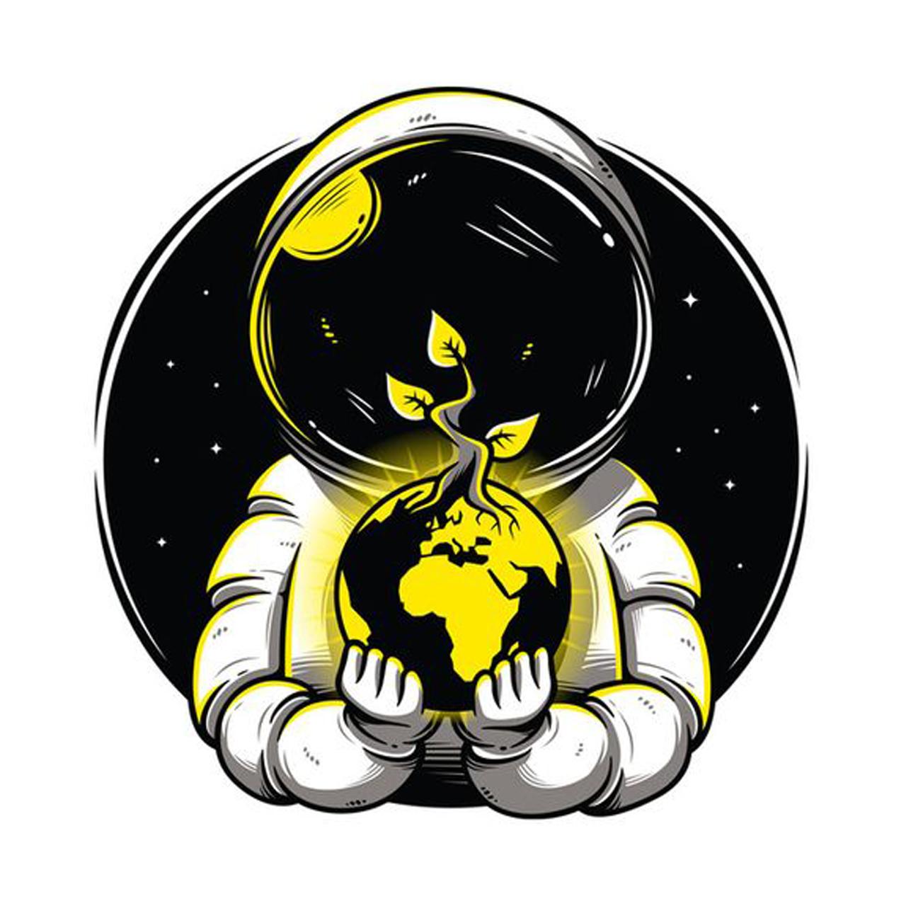 استیکر لپ تاپ طرح فضانورد کد ۰۴
