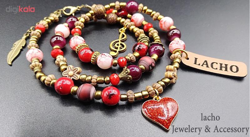 دستبند زنانه لاچو طرح قلب و پَر کد GO-G