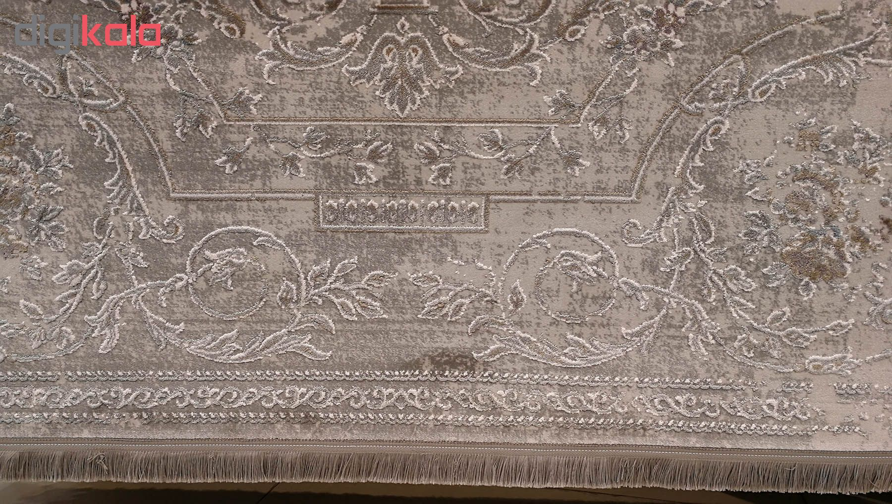 فرش ماشینی زمرد مشهد طرح پتینه کد TA110 زمینه طوسی