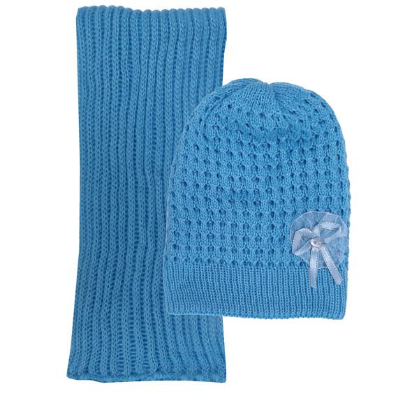 ست کلاه و شال گردن بافتنی دخترانه کد MA11 رنگ آبی