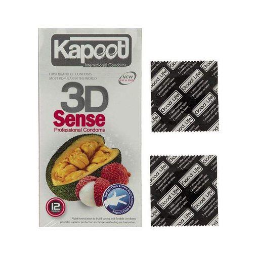 کاندوم کاپوت مدل 3D Sense بسته 12 عددی به همراه کاندوم گود لایف مدل  کلاسیک مجموعه 2 عددی
