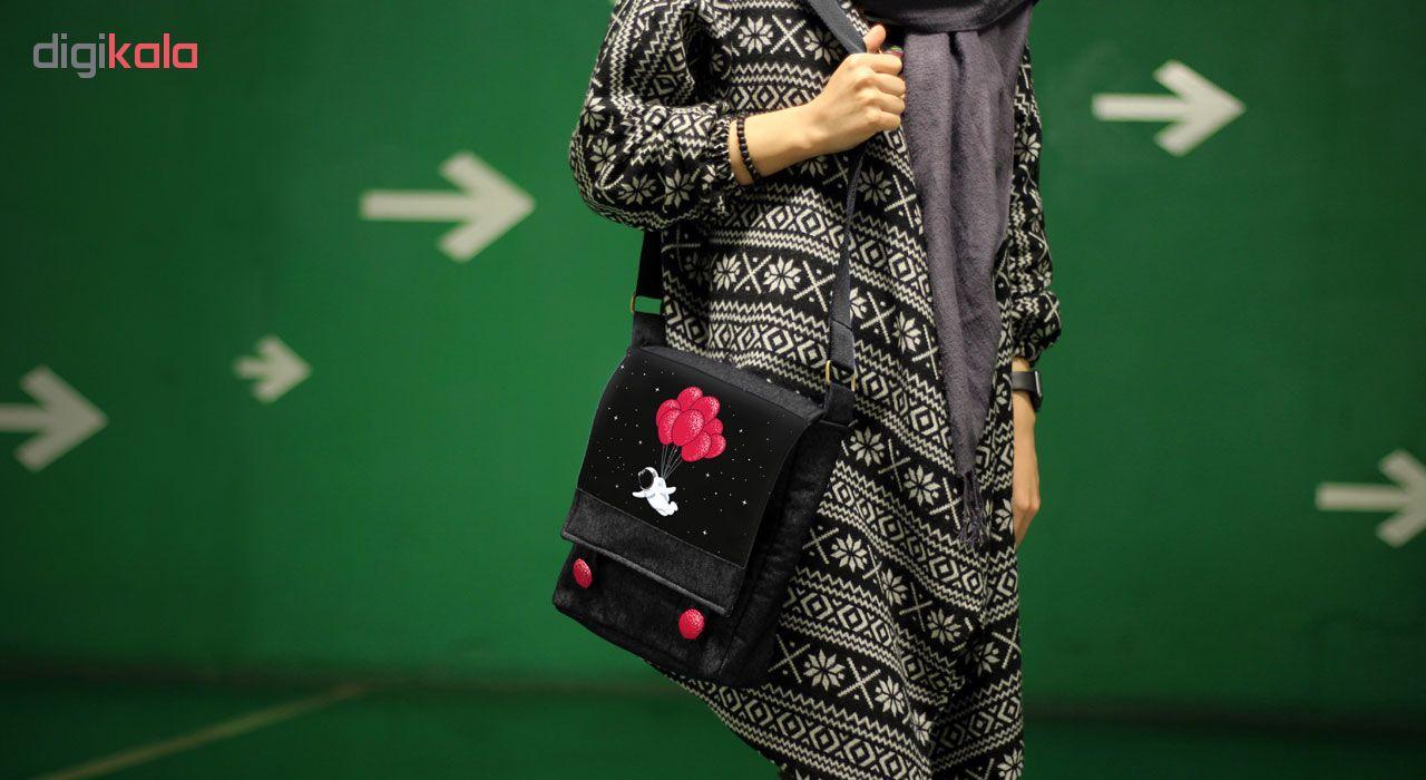 کیف دوشی دخترانه گالری چی چاپ طرح فضانورد و بادکنک